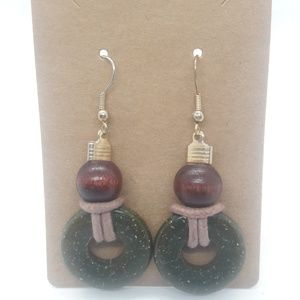 Stone & Wood Boho Dangle Earrings